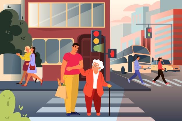 זהירות זקנים חוצים. קרדיט לאיור: adult-male-character-helping-old-lady-cross-street-man-support-old-woman-city-help-retired-people-idea-care-humanity-illustration_277904-4956